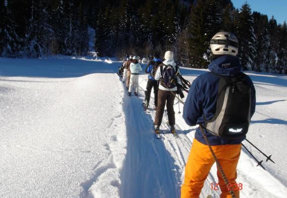 Mehrere Skitourengeher machen eine Pause und halten einen Ski nach oben, bei der Tour Skisafari rund ums Tal.