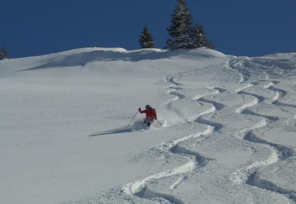 Drei Skitourengeher bei der Abfahrt im Tiefschnee bei der Tour Skisafari rund ums Tal.