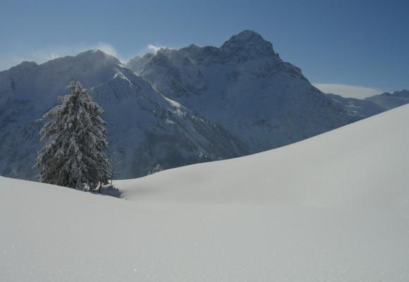 Skifahrer bei einer herrlichen Tiefschneeabfahrt bei der Tour Skisafari rund ums Tal.