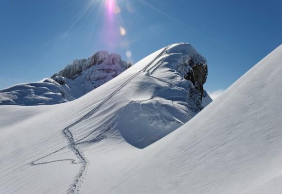 Eine Familie beim Schneeschuhwandern.