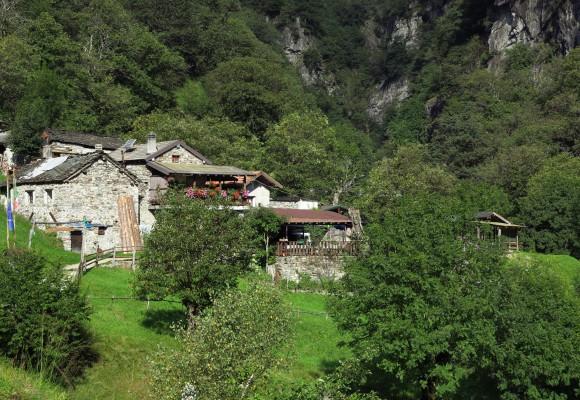 Die Alphütte liegt idyllisch überhalb des Comersee.
