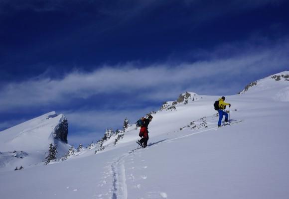 Skifahrer im aufstaubendem Tiefschnee bei einem Skitourenkurs im Kleinwalsertal.