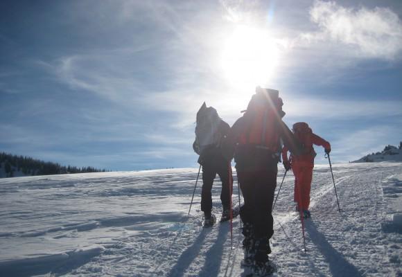 """Schneeschuhwanderer wandern auf den Grat bei der Tour """"Unterwegs im Steigbachtal"""""""