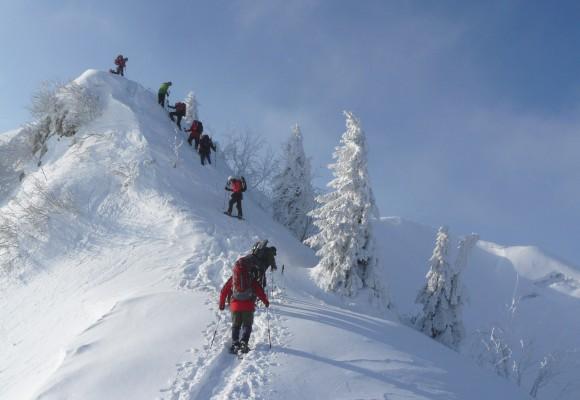 Die Gruppe läuft mit Schneeschuhen den Transalp.