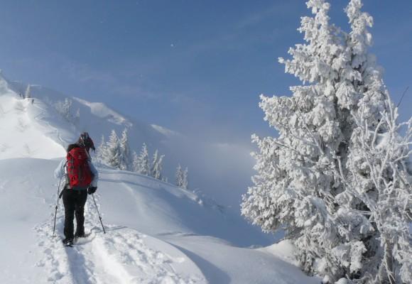 Mit den Schneeschuhen über die Alpen wandern.