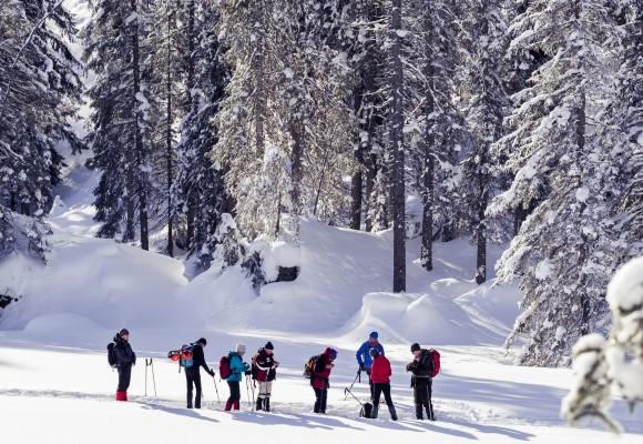 Schneeschuhwanderer bei der Tour zum Dürenboden in traumhafter Schneelanschaft.