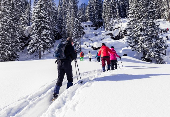 Schneeschuhwanderer unterwegs durch die Schneelandschaft.